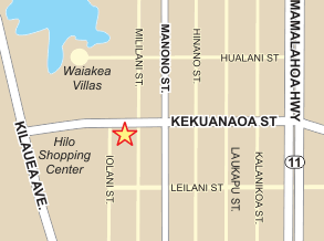 Map to 474 Kekuanaoa Street Hilo, Hawaii 96720